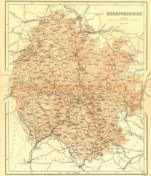 Associate Product HEREFORD. Herefordshire. Virtue 1860 old antique vintage map plan chart