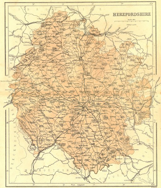 Associate Product HEREFORD. Herefordshire. Virtue Hughes 1860 old antique vintage map plan chart
