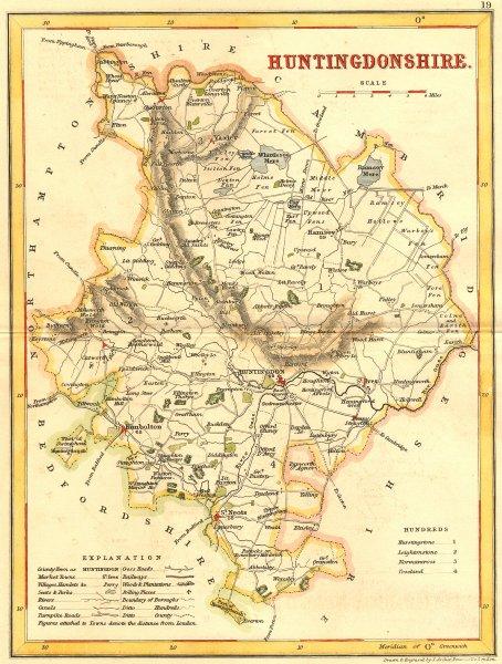 Associate Product HUNTS. Huntingdonshire. Archer Dugdale c1840 old antique map plan chart