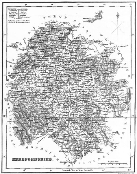 Associate Product HEREFORD. Herefordshire. Fullarton 1834 old antique vintage map plan chart