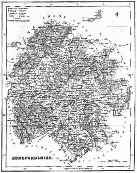 Associate Product HEREFORD. Herefordshire. Fullarton 1836 old antique vintage map plan chart