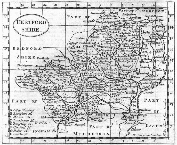 HERTS. Hertfordshire. Grose Seller 1795 old antique vintage map plan chart