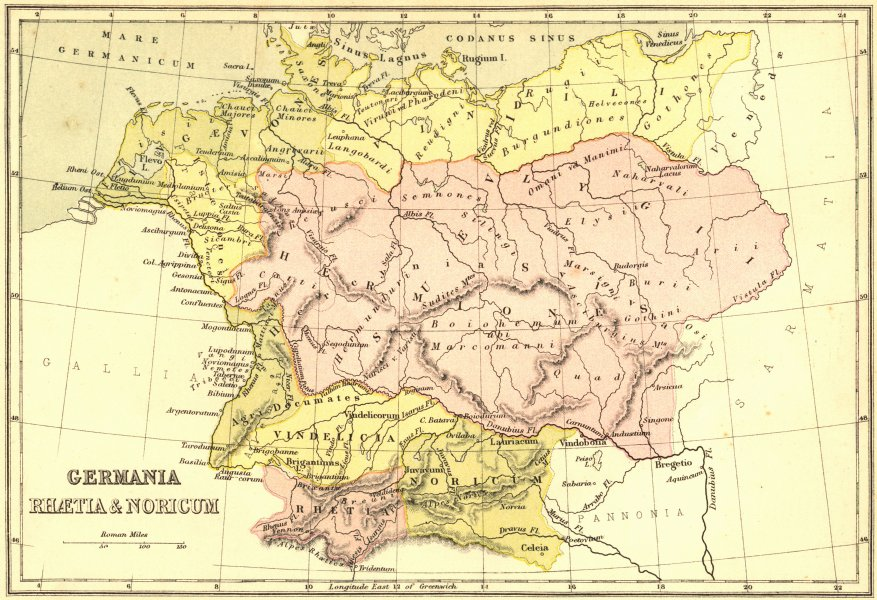 Associate Product GERMANY. Germania Rhaetia & Noricum. Collins 1870 old antique map plan chart
