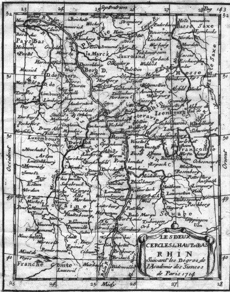 Associate Product GERMANY FRANCE. Rhin Rhine Rhein. Buffier 1749 old antique map plan chart