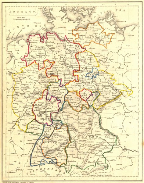 Associate Product GERMANY. Becker 1848 old antique vintage map plan chart