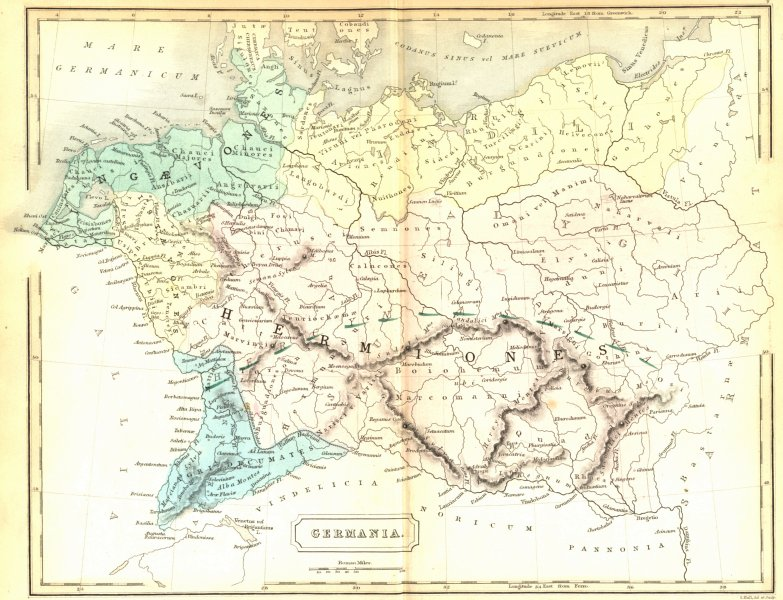 Associate Product GERMANY. Germania. Butler Hall Classical 1861 old antique map plan chart
