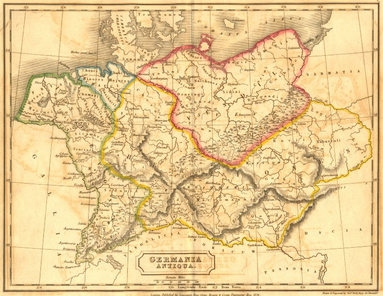 GERMANY. Germania Antiqua. Butler Hall Classical 1826 old antique map chart