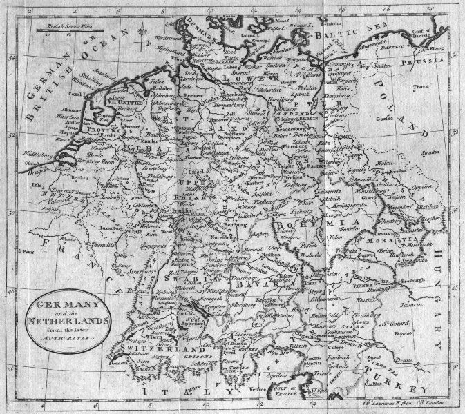 Associate Product GERMANY. & Netherlands. Guthrie inc 1787 old antique vintage map plan chart