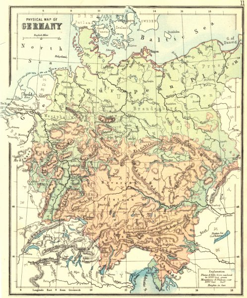 GERMANY. Physical. PHILIPS Hughes 1892 old antique vintage map plan chart