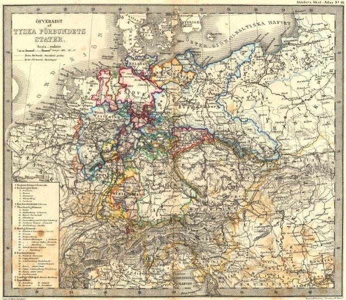 Associate Product GERMANY. Tyska Forbundets Stater. Stieler 1861 old antique map plan chart