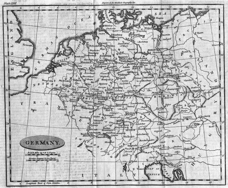 Associate Product GERMANY. Walker  1795 old antique vintage map plan chart