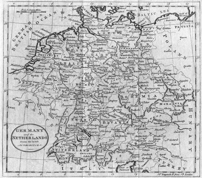 Associate Product GERMANY. & Netherlands. Benelux. Guthrie 1787 old antique map plan chart