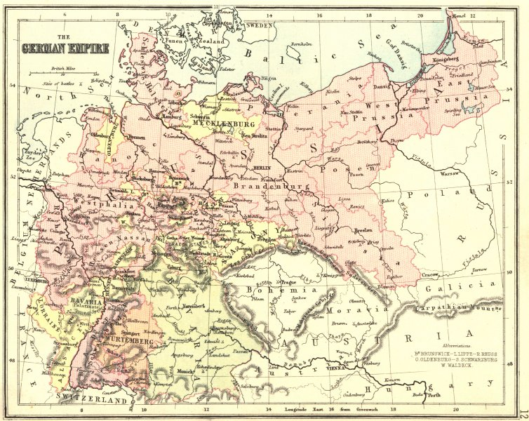 Associate Product GERMANY. German Empire. PHILIPS Hughes  1892 old antique map plan chart
