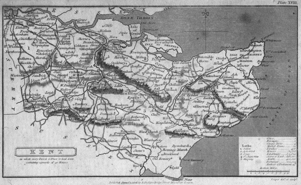 Associate Product KENT. Capper. Uncommon 1808 old antique vintage map plan chart