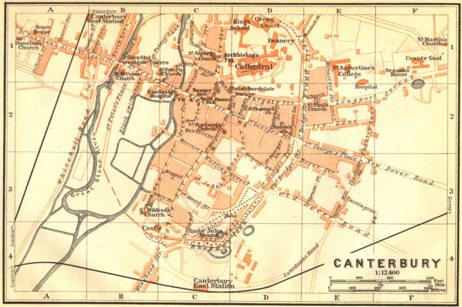 Associate Product KENT. Canterbury. Town Plan. Wagner 1910 old antique vintage map chart