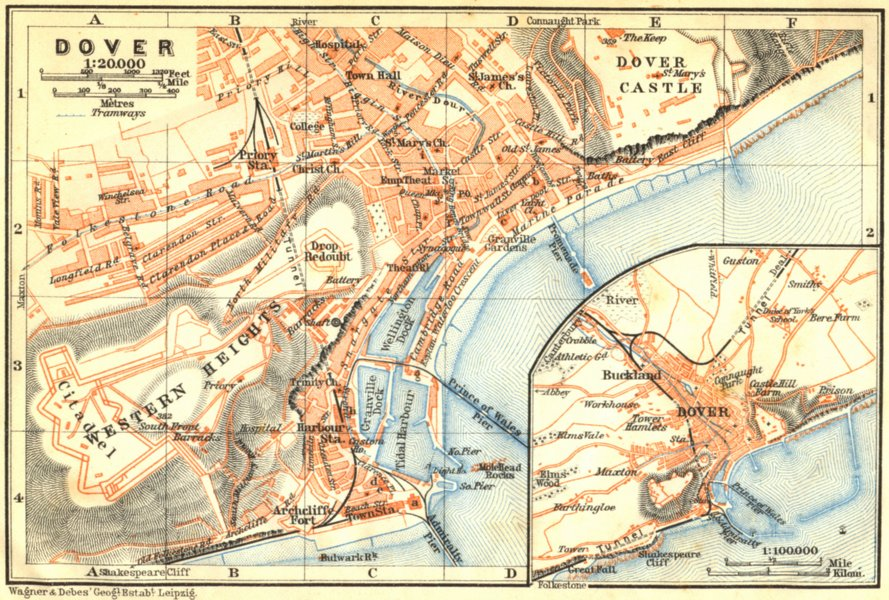 Associate Product KENT. Dover. Town Plan. Wagner 1910 old antique vintage map chart