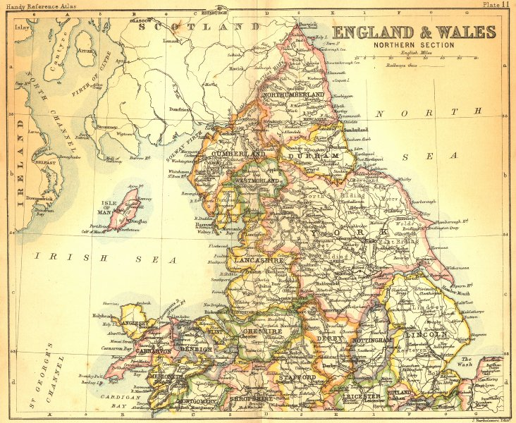 Associate Product ENGLAND WALES. North. Bartholomew Walker 1888 old antique map plan chart