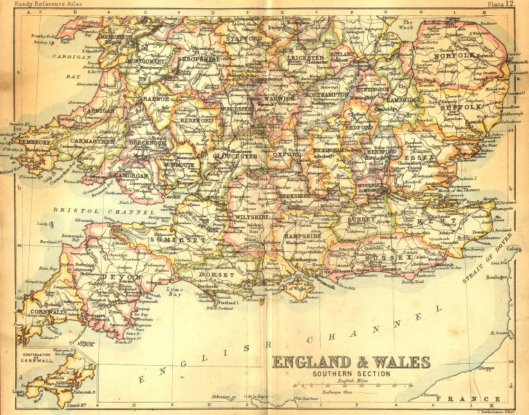 Associate Product ENGLAND WALES. South. Bartholomew Walker 1888 old antique map plan chart