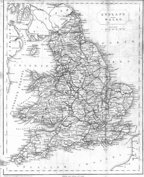 Associate Product UK. England Wales. Becker Virtue 1840 old antique vintage map plan chart