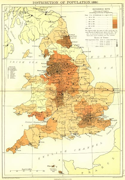 Associate Product UK. Population(1891). England Wales Black 1892 old antique map plan chart