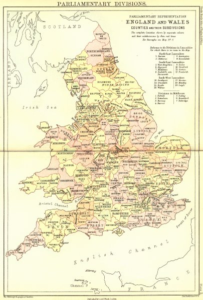 Associate Product UK. Parliamentary Divisions. England Wales Black 1892 old antique map chart