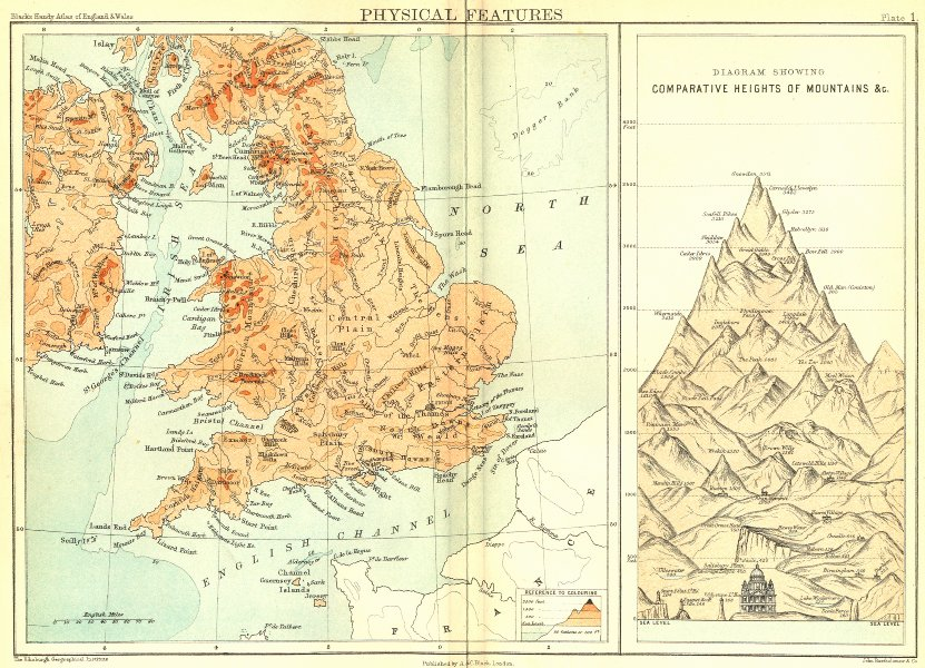 Associate Product ENGLAND WALES. PHYSICAL features; Mountains 1892 old antique map plan chart