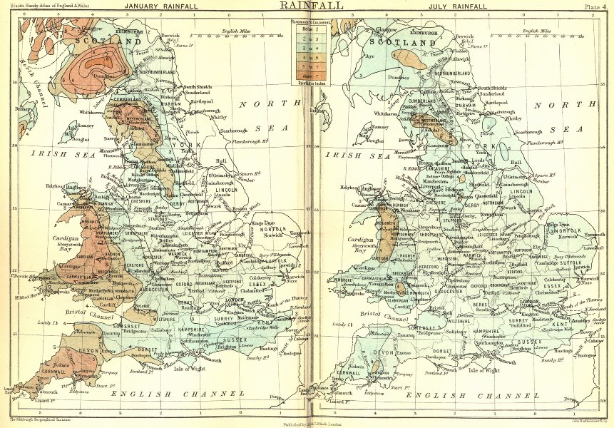 Map Of England Scotland.Uk Rainfall England Wales Scotland 1892 Old Antique Vintage Map