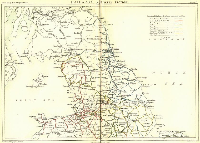 Associate Product UK. Railways, North. England Wales. Black 1892 old antique map plan chart
