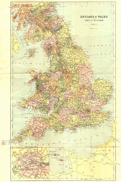 Associate Product ENGLAND WALES. Brabner Weller London inset 1895 old antique map plan chart