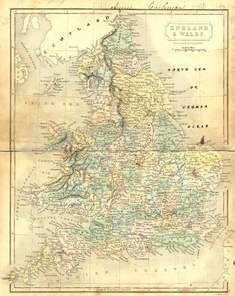 Associate Product ENGLAND WALES. Butler Hall 1850 old antique vintage map plan chart
