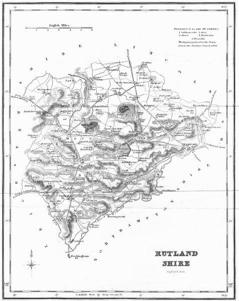Associate Product RUTLAND. Rutlandshire. Fullarton 1845 old antique vintage map plan chart
