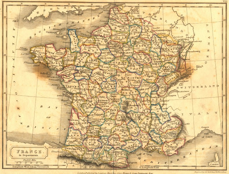 Associate Product FRANCE. Departments. Sidney Hall 1850 old antique vintage map plan chart