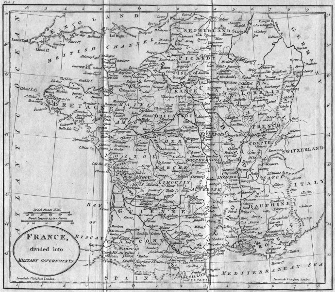 Associate Product FRANCE. Military Governments. Guthrie 1801 old antique vintage map plan chart