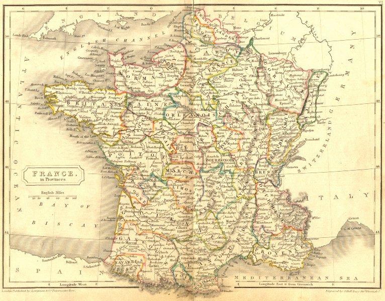 FRANCE. Provinces. Butler Hall 1844 old antique vintage map plan chart