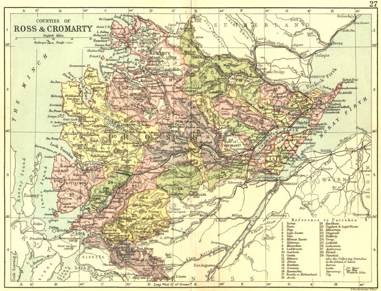 SCOTLAND. Ross Cromarty. Philip 1891 old antique vintage map plan chart