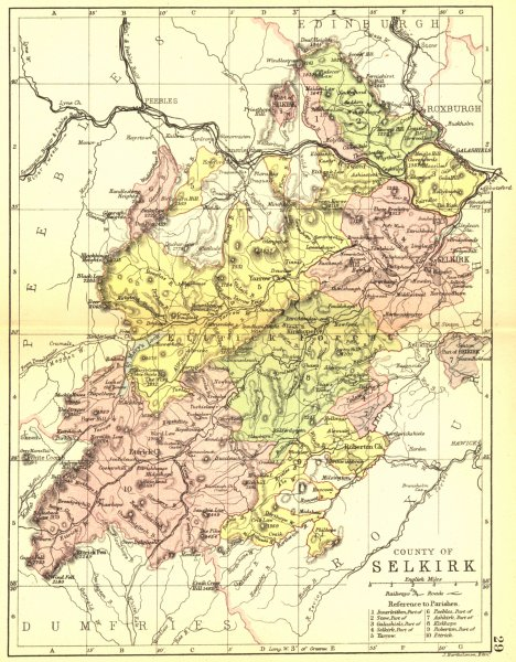 Associate Product SCOTLAND. Selkirk. Selkirkshire. Philip 1891 old antique map plan chart