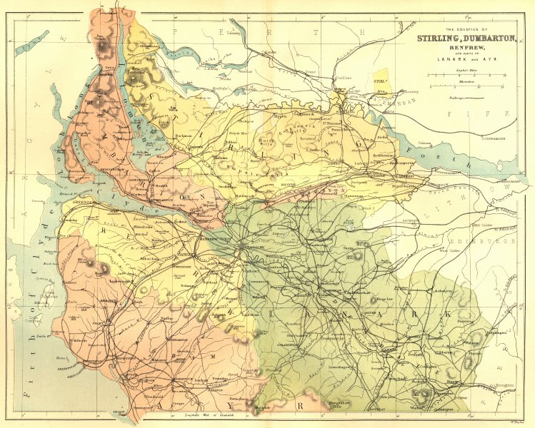 Associate Product SCOTLAND. Stirling, Dumbarton, Lanark, Ayr. Virtue 1868 old antique map chart