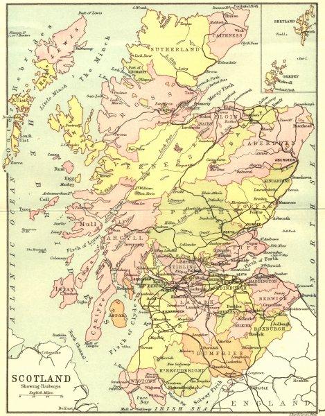 Associate Product SCOTLAND. Railways. Philip Shetland Orkney inset 1891 old antique map chart