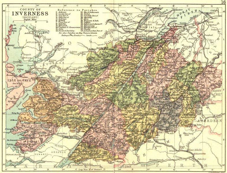Associate Product SCOTLAND. Inverness-shire. Philip 1891 old antique vintage map plan chart