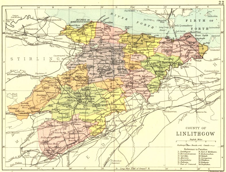 Associate Product SCOTLAND. Linlithgow. Linlithgowshire; Philip 1891 old antique map plan chart