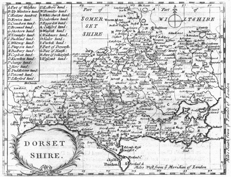 DORSET. Dorsetshire. Grose Seller 1795 old antique vintage map plan chart