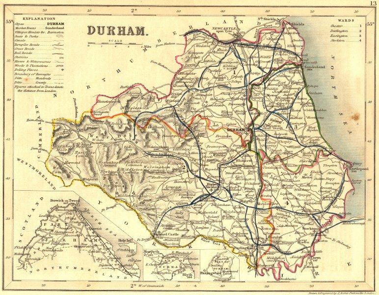 Associate Product DURHAM. Archer Dugdale c1840 old antique vintage map plan chart