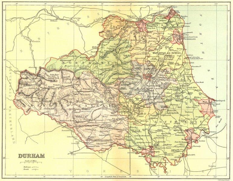 Associate Product DURHAM. Brabner Weller 1895 old antique vintage map plan chart