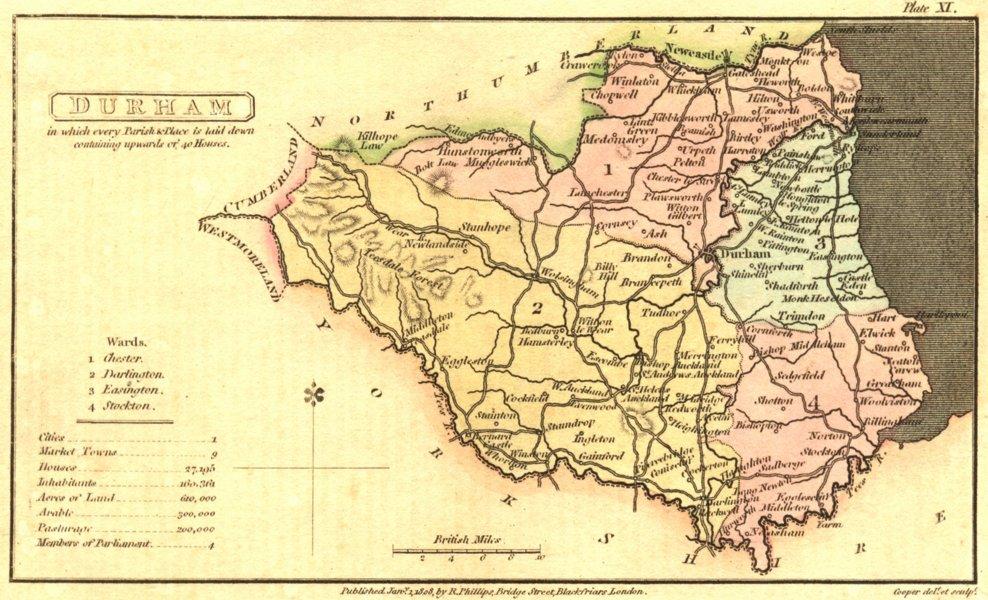 Associate Product DURHAM. Capper. Scarce 1813 old antique vintage map plan chart