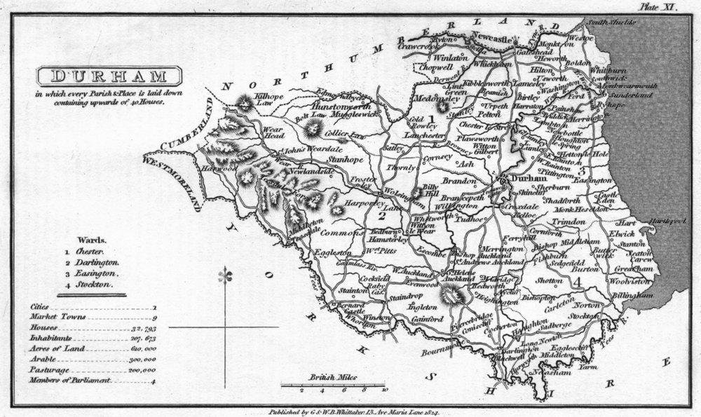 Associate Product DURHAM. Capper Uncommon 1839 old antique vintage map plan chart
