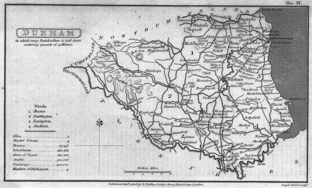 Associate Product DURHAM. Capper. Uncommon 1808 old antique vintage map plan chart