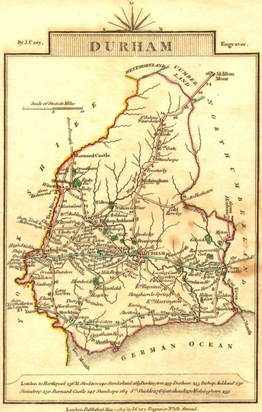 Associate Product DURHAM. Cary. Miniature 1814 old antique vintage map plan chart
