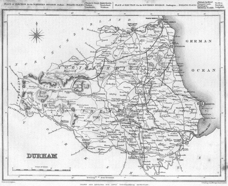 Associate Product DURHAM. Lewis 1835 old antique vintage map plan chart