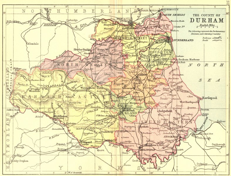 Associate Product DURHAM. Philip 1887 old antique vintage map plan chart
