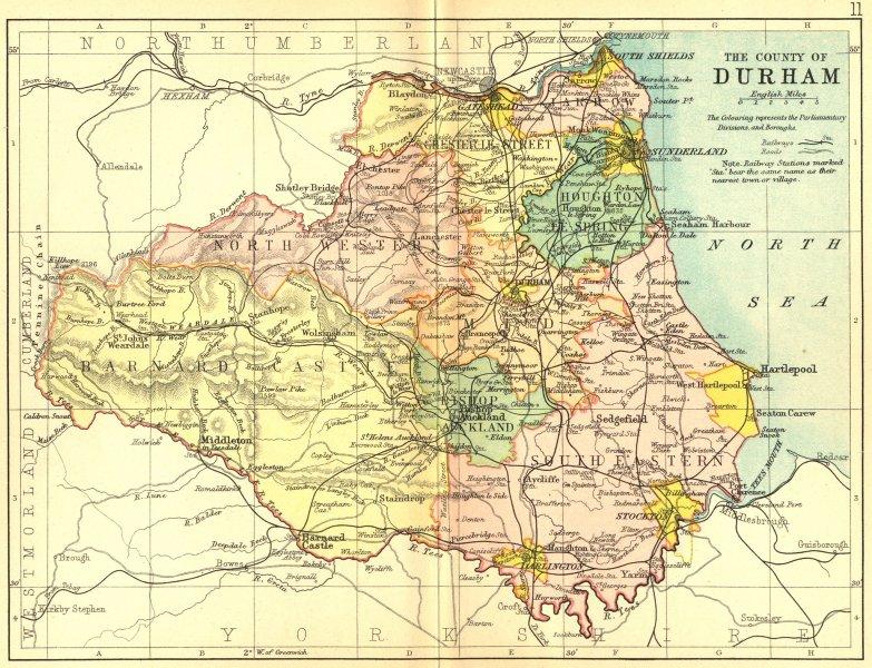 Associate Product DURHAM. Philip 1898 old antique vintage map plan chart